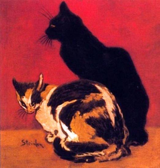 Steinlen - dipinto con la gattina tricolore
